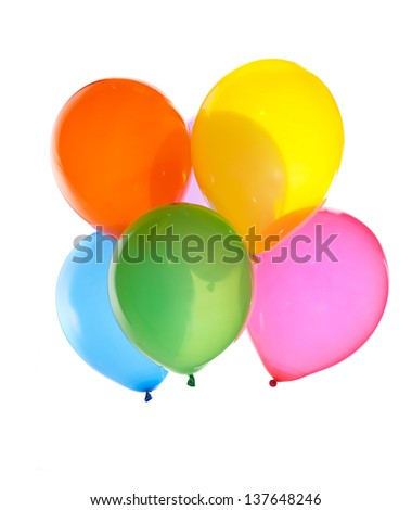 bright bunch of balloons isolated on white - stock photo