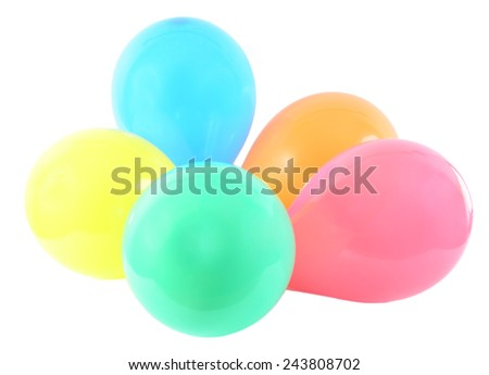 bright bunch of colorful balloons background isolated on white  - stock photo