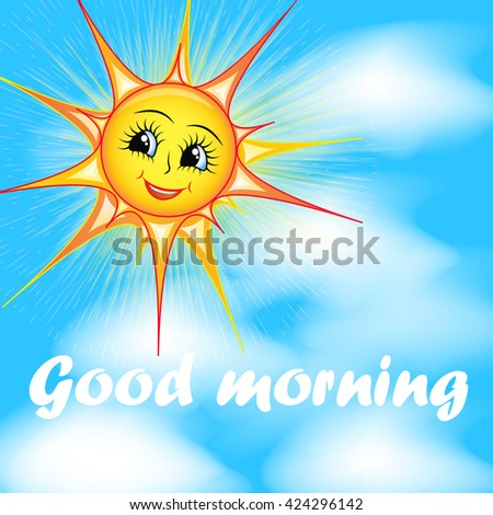 bright cartoon illustration of a smiling sun in the sky and the words good morning - stock photo