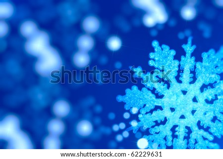 Bright Christmas background with a large snowflake - stock photo