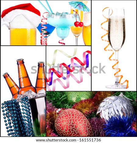 Bright christmas collage with alcohol and decor - stock photo