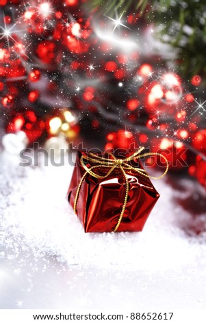 Bright christmas composition with gift - stock photo