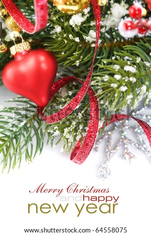 Bright christmas composition with heart and sample text - stock photo