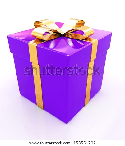 Bright christmas gift on a white background - stock photo