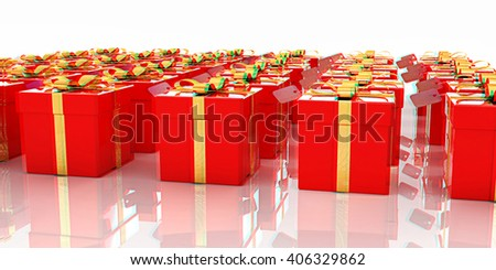 Bright christmas gifts on a white background. 3D illustration. Anaglyph. View with red/cyan glasses to see in 3D.