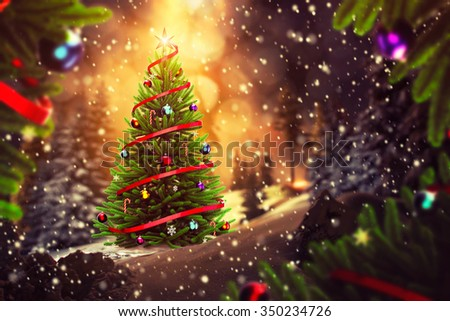 Bright Christmas tree outside in the winter night - stock photo
