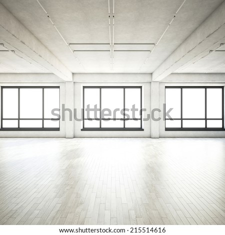 Bright clean interior. Empty open plan interior. - stock photo