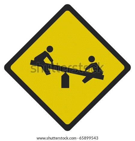 Bright, clean 'playground' road sign, isolated on pure white - photo realistic - stock photo