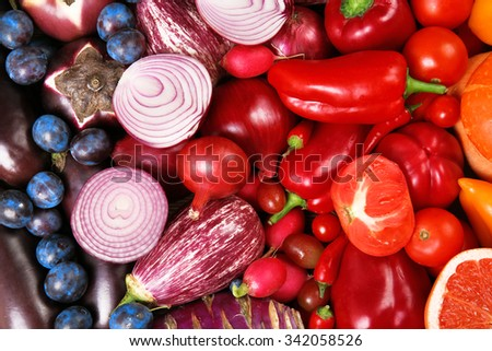Bright close-up background of fruit and vegetables - stock photo