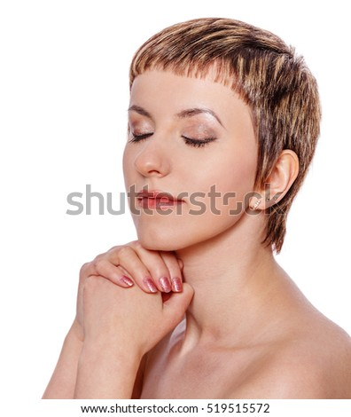 bright close up portrait picture of praying woman with closed eyes isolated on white