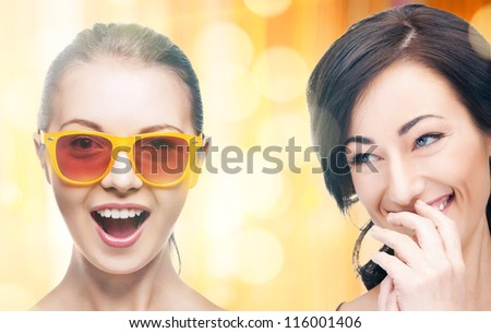 bright closeup picture of beautiful laughing women. - stock photo