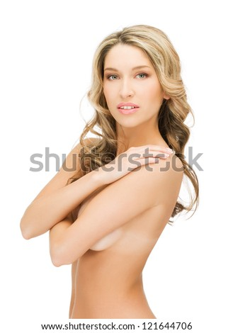 bright closeup picture of beautiful topless woman - stock photo