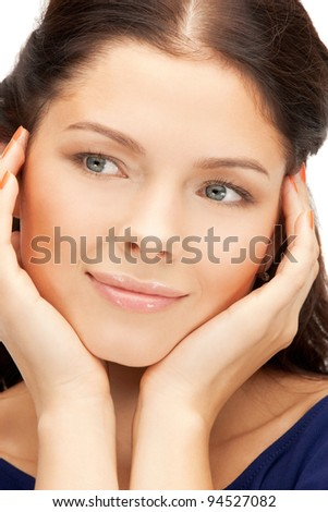 bright closeup portrait picture of beautiful woman