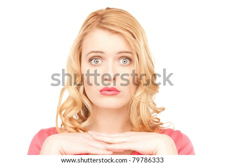 bright closeup portrait picture of unhappy woman - stock photo
