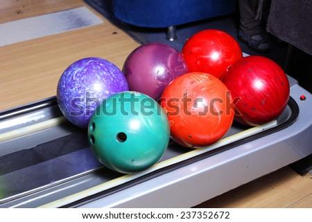 bright color bowling balls closeup - stock photo