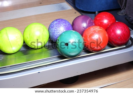 bright color bowling balls closeup - stock photo