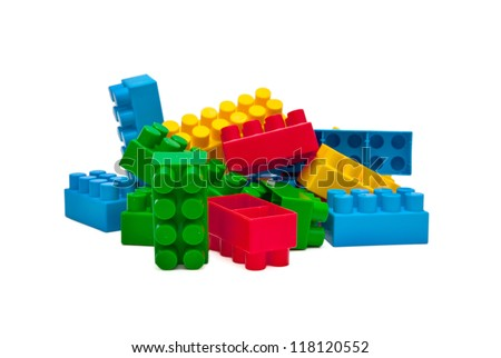 Bright Color Building Blocks Isolated on White - stock photo