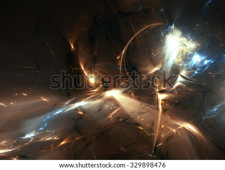 Bright color glowing pattern. Abstract golden futuristic background with lighting effect for creative graphic design. Shiny template. Fractal artwork - stock photo