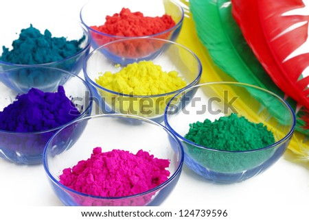 Bright color gulal kept in bowls - stock photo