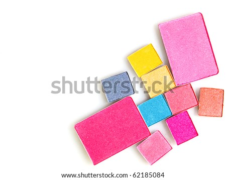 Bright color of eye shadows and blush-on - stock photo