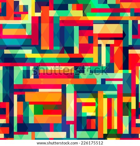 bright color square seamless pattern (raster version) - stock photo