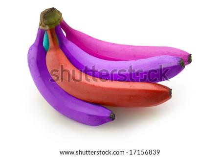 Bright colored bananas - stock photo