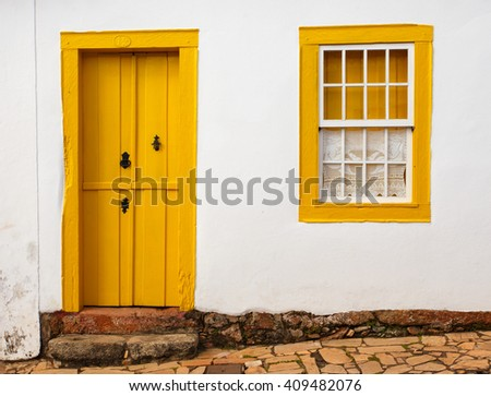 bright colored facade of house at the Brazil - stock photo