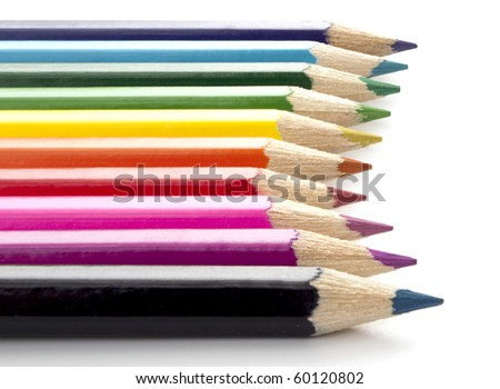Bright colored pencils isolated on white - stock photo