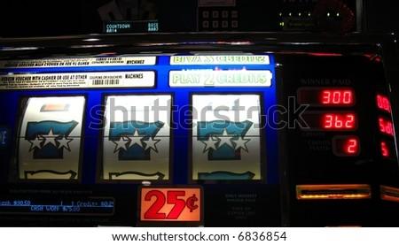 bright colored slot machine winnings - stock photo