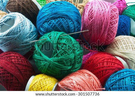 Bright colored yarn balls background