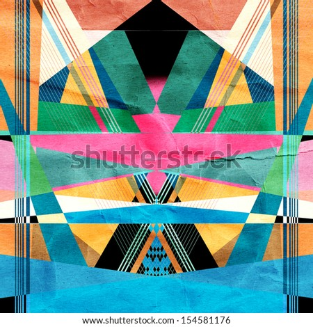 bright colorful abstract background with geometric elements - stock photo