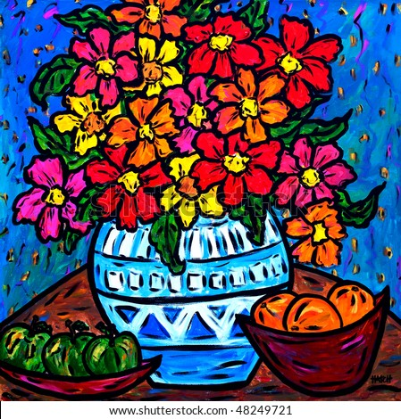 Bright Colorful, Artwork, Oil on Canvas, Floral Bouquet