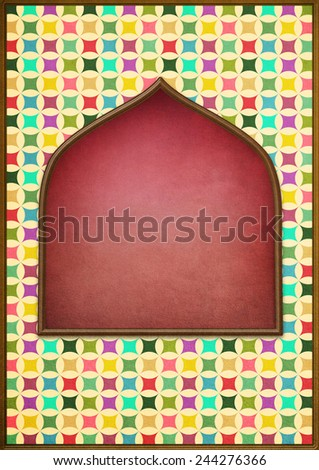 Bright colorful background for poster or card with  window - stock photo