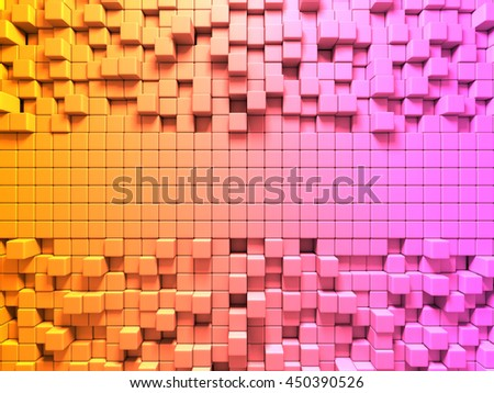 Bright Colorful Cubes Pattern Background. 3d Render illustration - stock photo