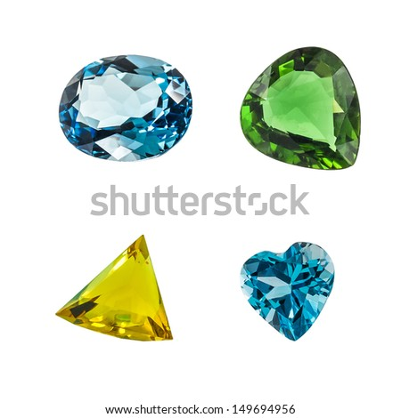 bright colorful gems isolate on white background - stock photo