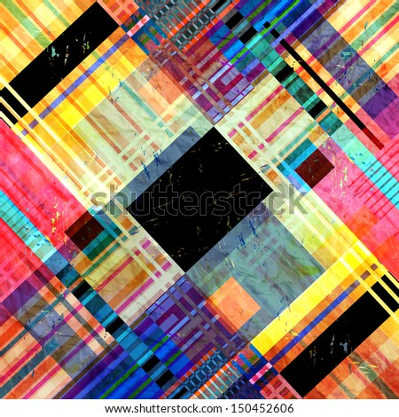 bright colorful geometric abstract pattern of different stripes - stock photo