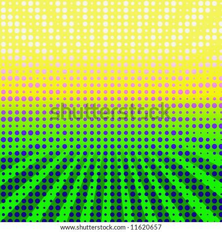 Bright Colorful Halftone Scene - stock photo
