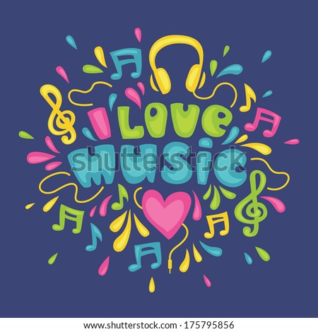 Bright colorful illustration on music theme with hand-drawn type