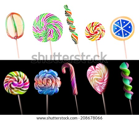 Bright colorful lollipop set over isolated background