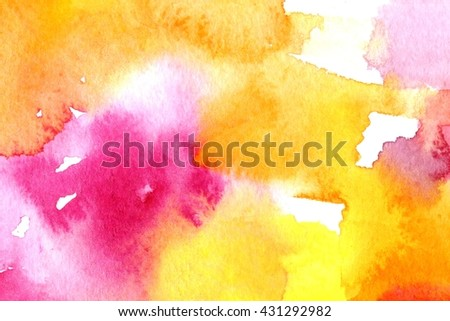 Bright colorful macro watercolor background with paper texture grains, paint stains and splashes. Image of wet stripe strokes. Artistic technique illustration. Hand made backdrop art for print, card - stock photo