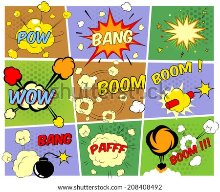 Bright colorful mock-ups of comic book speech bubbles depicting a variety of sounds  explosions  bang  pfaff  pow  wow  boom  with motion puffs and star bursts and a burning bomb and dynamite - stock photo
