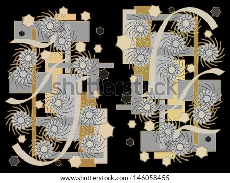 vibrant design modern floral wallpaper. Bright colorful modern abstract design with geometric and floral motifs  superimposed on a black background to Colorful Modern Abstract Design Geometric Stock Illustration