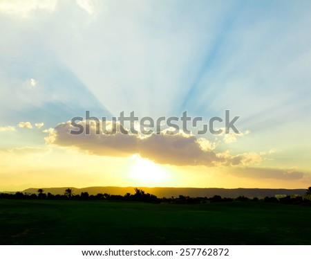 Bright Colorful Sunrise With Beautiful Clouds  - stock photo