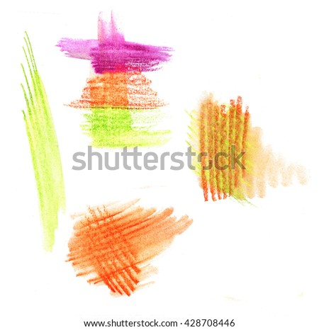 Bright colorful watercolor pencil  hand drawn strokes  pink green yellow background