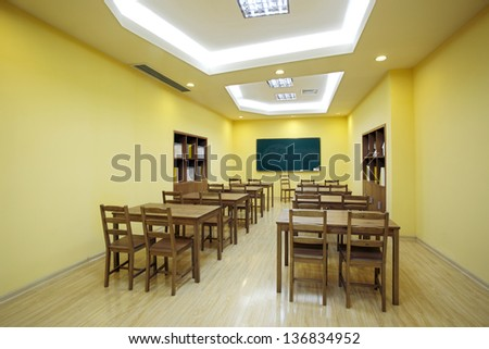 Bright colors and clean classroom