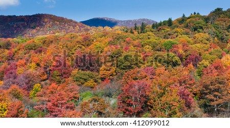Bright colors of autumn in the Blue Ridge mountains - stock photo