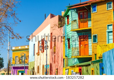 Bright colors of Caminito street in La Boca neighborhood of Buenos Aires, Argentina - stock photo