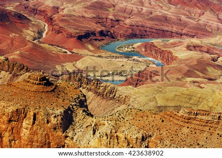 bright colors of the Grand Canyon National Park - stock photo