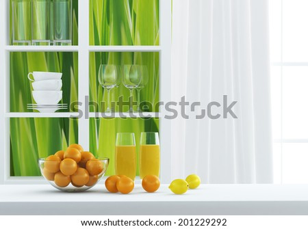 Bright composition at the green kitchen - stock photo