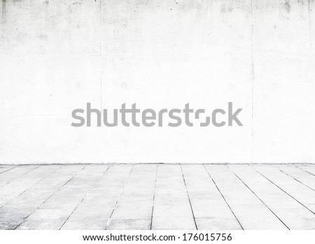 Bright concrete wall and floor - stock photo